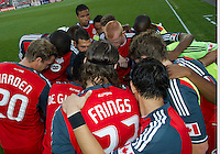 27 August 2011:The Toronto FC players huddle prior to the start of a game between the San Jose Earthquakes and Toronto FC at BMO Field in Toronto..The game ended in a 1-1 draw.