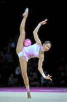 September 23, 2011; Montpellier, France;  ALIYA GARAEVA of Azerbaijan performs with ball in the all around final at 2011 World Championships.