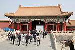 Asia, China, Beijing. Tourists at the Forbidden City