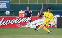 Jon Busch kicks out the ball. The San Jose Earthquakes defeated Chivas USA 6-5 in shootout after drawing 0-0 in regulation time to win the inagural Sacramento Cup at Raley Field in Sacramento, California on June 12, 2010.