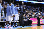 26 January 2015: North Carolina's Theo Pinson dances during player introductions keeping his booted foot in the air. The University of North Carolina Tar Heels played the Syracuse University Orange in an NCAA Division I Men's basketball game at the Dean E. Smith Center in Chapel Hill, North Carolina. UNC won the game 93-83.