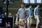 11 February 2017: Duke's Agoston Walter waits to start his Saber match. The Duke University Blue Devils hosted the Boston College Eagles at Card Gym in Durham, North Carolina in a 2017 College Men's Fencing match. Duke won the dual match 18-9 overall, 9-0 Foil, and 6-3 Saber. Boston College won Epee 6-3.