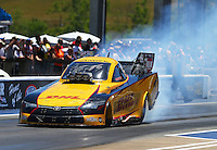 Jun 18, 2016; Bristol, TN, USA; NHRA funny car driver Del Worsham during qualifying for the Thunder Valley Nationals at Bristol Dragway. Mandatory Credit: Mark J. Rebilas-USA TODAY Sports
