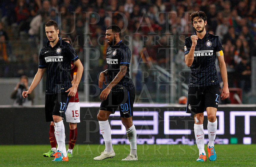 Calcio, Serie A: Roma vs Inter. Roma, stadio Olimpico, 30 novembre 2014.<br /> FC Inter&rsquo;s Andrea Ranocchia, right, celebrates after scoring during the Italian Serie A football match between AS Roma and FC Inter at Rome's Olympic stadium, 30 November 2014.<br /> UPDATE IMAGES PRESS/Riccardo De Luca