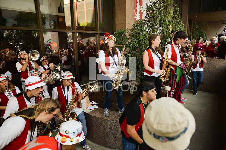 Dallas, TX - Friday March 31, 2017: Stanford band prior to the NCAA National Semifinal Game between the women's basketball teams of Stanford and South Carolina at the American Airlines Center.