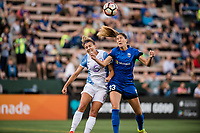 Seattle, WA - Sunday, May 21, 2017: Steph Catley and Katlyn Johnson during a regular season National Women's Soccer League (NWSL) match between the Seattle Reign FC and the Orlando Pride at Memorial Stadium.