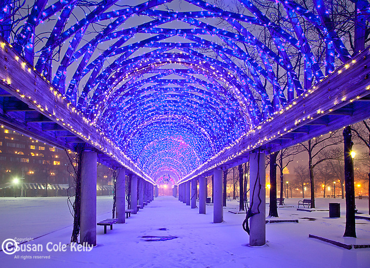 Christmas snow at Christopher Columbus Waterfront Park, Boston, MA, USA