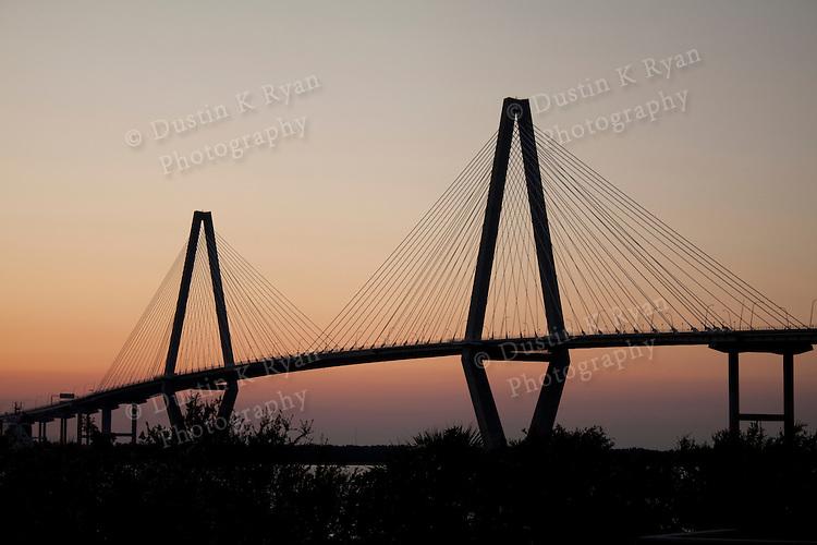Arthur Ravenel Jr Bridge at Sunset from Mt Pleasant side of the Cooper River