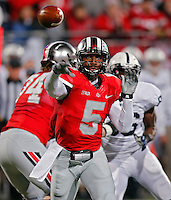 Ohio State Buckeyes quarterback Braxton Miller (5) drops back for a pass in the 1st quarter against Penn State Nittany Lions at Ohio Stadium on October 26, 2013.  (Dispatch photo by Kyle Robertson)