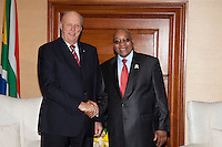 King Harald, and Queen Sonja of Norway, State visit to South Africa..Welcome Ceremony at Union Buildings ( Official Presidential Buildings ) in Pretoria..Received by HE Mr Jacob Zuma, President of The Republic of South Africa, and his wife Mantuli Zuma..King Harald and President Zuma