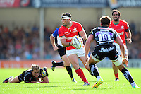 Brad Barritt of Saracens looks to pass the ball. Aviva Premiership match, between Exeter Chiefs and Saracens on September 11, 2016 at Sandy Park in Exeter, England. Photo by: Patrick Khachfe / JMP