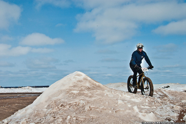 Riding on the shore ice of Lake Superior, Little Presque Isle, Marquette County, Michigan, 2013