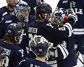 John Hayden (Yale - 21), Patrick Spano (Yale - 30) - The Harvard University Crimson tied the visiting Yale University Bulldogs 1-1 on Saturday, January 21, 2017, at the Bright-Landry Hockey Center in Boston, Massachusetts.