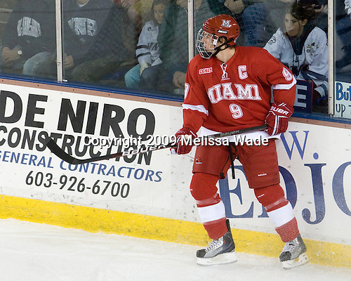 Tommy Wingels (Miami - 9) - The Miami University Redhawks and University of New Hampshire Wildcats played to a 5-5 tie on Saturday, October 17, 2009, at the Whittemore Center in Durham, New Hampshire.