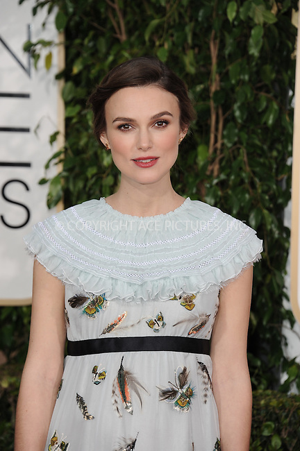 WWW.ACEPIXS.COM<br /> <br /> January 11 2015, LA<br /> <br /> Keira Knightley arriving at the 72nd Annual Golden Globe Awards at The Beverly Hilton Hotel on January 11, 2015 in Beverly Hills, California. <br /> <br /> <br /> By Line: Peter West/ACE Pictures<br /> <br /> <br /> ACE Pictures, Inc.<br /> tel: 646 769 0430<br /> Email: info@acepixs.com<br /> www.acepixs.com