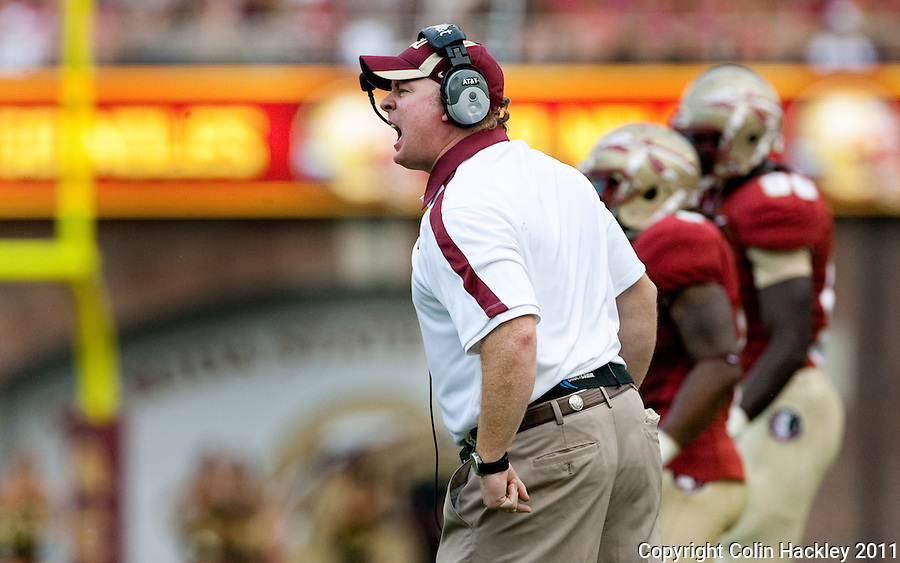 TALLAHASSEE, FL 9/3/11-FSU-ULM FB090311 CH-Florida State Defensive Coordinator Mark Stoops reacts during the University of Louisiana at Monroe game Saturday at Doak Campbell Stadium in Tallahassee. The Seminole's beat the Warhawks 34-0. .COLIN HACKLEY PHOTO