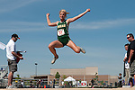 Borah senior Brittany Owens long jumps during the 5A Idaho Track and Field Championships on May 19, 2012 at Rocky Mountain High School, Meridian, Idaho. Owens went 19-05.50 to break her state meet record of 19-01 set on May 21, 2010. Owens ended her high school track and field career as a six time state champion winning the long jump and triple jump titles the past three years.