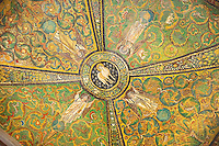 Byzantine Roman mosaics of the ceiling of the Apse of the Basilica of San Vitale in Ravenna, Italy. Mosaic decoration paid for by Emperor Justinian I in 547. A UNESCO World Heritage Site