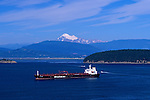 From Cap Sante park looking at large tanker in Fidalgo Bay with other boats and Mount Baker in background Anacortes Washington State USA.