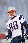 New England Patriots tight end Christian Fauria takes some practice drills before the start of play against the Buffalo Bills at Ralph Wilson Stadium in Orchard Park, NY, on December 11, 2005 . The Patriots defeated the Bills 35-7. Mandatory Photo Credit: Ed Wolfstein