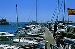 Boats and yachts moored at jetty, Corralejo, Fuerteventura, Canary Islands, Spain