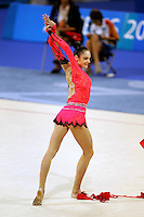 Anna Bessonova of Ukraine finishes with ribbon routine during All-<br /> Around final at 2004 Athens Olympic Games on August 29, 2006 at Athens, Greece. (Photo by Tom Theobald)
