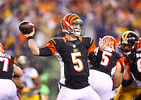 AJ McCarron #5 of the Cincinnati Bengals in action against the Pittsburgh Steelers during the Wild Card playoff game at Paul Brown Stadium on January 9, 2016 in Cincinnati, Ohio. (Photo by Jared Wickerham/DKPittsburghSports)