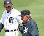 20 March 2006: Yankees legend and hall of famer Yogi Berra (r) talks with Tigers head coach Jim Leyland (l) before the game. The Detroit Tigers defeated the New York Yankees 15-2 in a preseason Grapefruit League Major League Baseball game held at Joker Merchant Stadium in Lakeland, Florida, the Spring Training home of the Tigers.