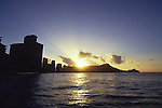 Sunrise over Diamond Head, Waikiki, Oahu, Hawaii<br />