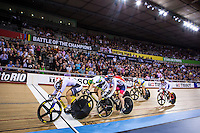 Picture by Alex Whitehead/SWpix.com - 03/03/2016 - Cycling - 2016 UCI Track Cycling World Championships, Day 2 - Lee Valley VeloPark, London, England -Germany's Kristina Vogel wins Gold from Australia's Anna Meares (Silver) and Great Britain's Becky James (Bronze) in the Women's Keirin final.
