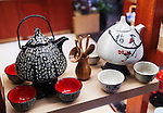 Chinese tea sets teapot and cups on display at a store in Shanghai, China