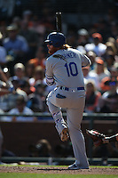 SAN FRANCISCO, CA - OCTOBER 2:  Justin Turner #10 of the Los Angeles Dodgers bats against the San Francisco Giants during the game at AT&T Park on Sunday, October 2, 2016 in San Francisco, California. Photo by Brad Mangin