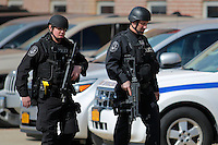 BETHPAGE, NY - APRIL 6 : U.S. police officers patrol near the area where republican presidential candidate Donald Trump will hold a rally on April 6, 2016 in Bethpage, New York. Front-running Republican candidate Trump will address supporters on the heels of a potentially damaging loss in the Wisconsin primary. Photo by VIEWpress