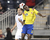 Heath Pearce #14 of the USA MNT and Adrian Ramos #20 of Colombia go up for a header during an international friendly match at PPL Park, on October 12 2010 in Chester, PA. The game ended in a 0-0 tie.