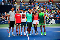 Tennis players Marin Cilic, (L), Roger Federer, (3rd-L), Serena Williams, (2nd-R) and Rafael Nadal, (R ) attend the Arthur ASHE kids day at the US Open 2015 in New York. 08.29.2015.  Eduardo MunozAlvarez/VIEWpress.