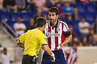 Juan Pablo Angel (9) of CD Chivas USA looks for a call from referee Armando Villareal. The New York Red Bulls and CD Chivas USA played toa 1-1 tie during a Major League Soccer (MLS) match at Red Bull Arena in Harrison, NJ, on May 23, 2012.
