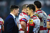 Freddie Burns of Leicester Tigers has a chat with his brother Freddie after the match. Aviva Premiership match, between Leicester Tigers and Gloucester Rugby on February 11, 2017 at Welford Road in Leicester, England. Photo by: Patrick Khachfe / JMP