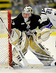 30 December 2007: Western Michigan University Broncos' goaltender Jerry Kuhn, a Freshman from Southgate, MI, in action against the Holy Cross Crusaders at Gutterson Fieldhouse in Burlington, Vermont. The teams skated to a 1-1 tie, however the Broncos took the consolation game in a 2-0 shootout to win the third game of the Sheraton/TD Banknorth Catamount Cup Tournament...Mandatory Photo Credit: Ed Wolfstein Photo