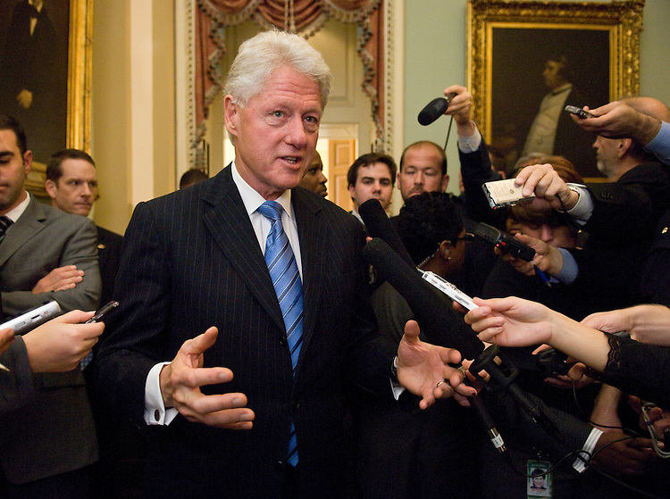 WASHINGTON, DC - Nov. 10: Former President Bill Clinton talks to reporters in the U.S. Capitol after attending the Senate Democratic policy luncheon to talk about health care reform legislation. (Photo by Scott J. Ferrell/Congressional Quarterly)