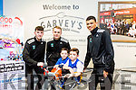 Adam Quinn and Rian Twohey with Players Paul McMahon, Gary Fernane Trae Pemberton  at the Launch of the Garvey's SuperValu sponsorship of the Tralee Warriors