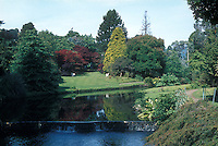 Wide view of river and gardens from the Maple Walk at Mount Usher Gardens, County Wicklow, Ireland, in May, with trees, red trees, yellow, green lawn, tiered waterfall, chairs, plantings, perennials, etc
