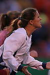 16 October 2004, Brandi Chastain (white) of the U.S. Women's National Team expresses her opinion about the ref's non-call in their 1-0 defeat of Mexico at Arrowhead Stadium, Kansas City, Missouri..