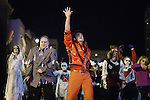 Michael Jackson impersonator Albert Ignacio does the thriller dance during the Thriller Zombie parade, Sunday, Oct. 30, 2011. Photo by Brandon Goodwin | Staff.