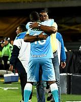 BOGOTA - COLOMBIA - 13 - 05 - 2017: Hubert Bodhert (Der.), técnico de Jaguares F. C., celebra con Kevin Londoño (Izq.) el segundo gol a Independiente Santa Fe, durante partido de la fecha 18 entre Independiente Santa Fe y Jaguares F. C., por la Liga Aguila I-2017, en el estadio Nemesio Camacho El Campin de la ciudad de Bogota. / Hubert Bodhert (R), coach of Jaguares F. C., celebrates with Kevin Londoño L) the second goal to Independiente Santa Fe, during a match of the date 18th between Independiente Santa Fe and Jaguares F. C., for the Liga Aguila I -2017 at the Nemesio Camacho El Campin Stadium in Bogota city, Photo: VizzorImage / Luis Ramirez / Staff.
