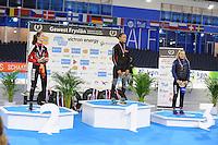 SCHAATSEN: HEERENVEEN: 03-02-2017, KPN NK Junioren, Podium Junioren C Dames 500m, Isabel Grevelt, Georgie Dalrymple, Debby Behr, ©foto Martin de Jong