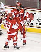 Jillian Kirchner (BU - 18) and Jenn Wakefield (BU - 9) celebrate Wakefield's goal. - The visiting Boston University Terriers defeated the Boston College Eagles 1-0 on Sunday, November 21, 2010, at Conte Forum in Chestnut Hill, Massachusetts.