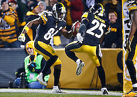Antonio Brown #84 and Brandon Boykin #25 of the Pittsburgh Steelers celebrate Brown's punt return for a touchdown in the fourth quarter against the Indianapolis Colts during the game at Heinz Field on December 6, 2015 in Pittsburgh, Pennsylvania. (Photo by Jared Wickerham/DKPittsburghSports)