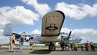 NWA Democrat-Gazette/DAVID GOTTSCHALK  Flight crew members and members of the public tour Wednesday, April 19, 2017, a Marine B-25 after the plane landed at the Arkansas Air and Military Museum at Drake Field in Fayetteville.The museum is hosting the only airworthy Marine B-25 on the 19th and 20th. The Marine version of the B-25 is designated the PBJ. A donation at the door of $15.00 for adults and $10.00 for children under 12 includes entrance to the museum and a tour of the PBJ.