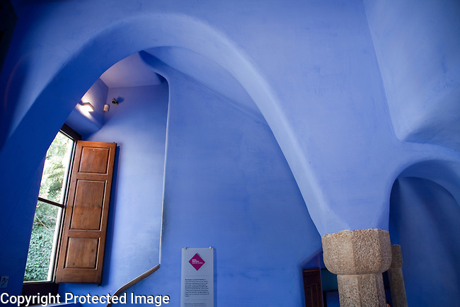 Interior of Porters Lodge designed by Gaudi in Park Guell, Barcelona, Catalonia, Spain