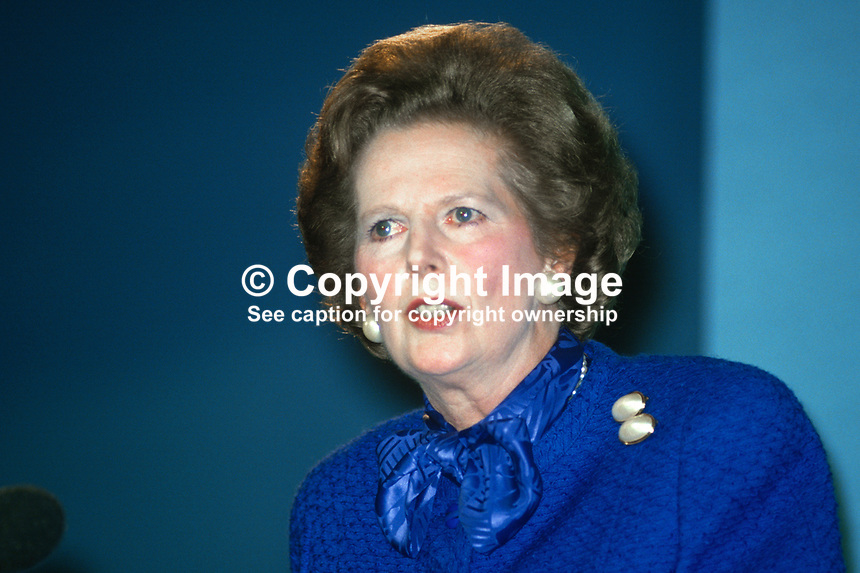 Margaret Thatcher, Prime Minister, MP,  Conservative Party, UK, speaking, annual conference, 19871034MT1..Copyright Image from Victor Patterson, 54 Dorchester Park, Belfast, UK, BT9 6RJ..Tel: +44 28 9066 1296.Mob: +44 7802 353836.Voicemail +44 20 8816 7153.Skype: victorpattersonbelfast.Email: victorpatterson@me.com.Email: victorpatterson@ireland.com (back-up)..IMPORTANT: If you wish to use this image or any other of my images please go to www.victorpatterson.com and click on the Terms & Conditions. Then contact me by email or phone with the reference number(s) of the image(s) concerned.
